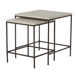 abby nesting tables in charcoal/travertine