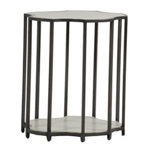 clarice end table in slate grey / travertine superstone