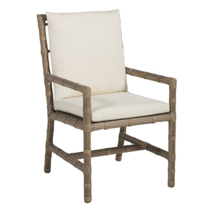 newport arm chair in burlap – frame only